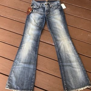 "NWT 7 For All Mankind ""Havana"" Wide Leg Jeans Sz24"